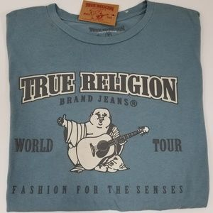 True Religion Mens T-Shirt Blue Graphic Tee New